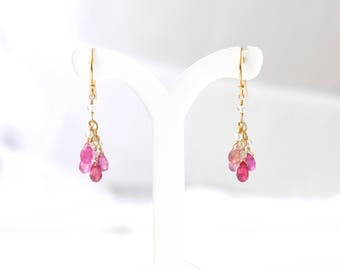 14K Gold. Pink sapphire Earrings, Multi-Color Sapphire earrings, September Birthstone Earrings, Gift For Her, Moters days Gift