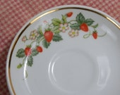 Two Vintage Avon Strawberry Saucers - White Porcelain Decorated with Red Strawberries, White Flowers and Green Leaves, 22K Gold Trim