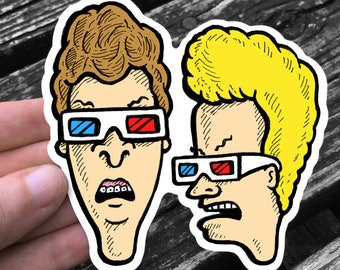 Dumbasses Wearing 3D Glasses - Weather Resistant Sticker Decal - FREE US SHIPPING