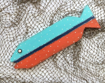 Painted Fish - Nautical Nursery - Lake Decor - Wooden Folk Art