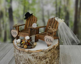 Roasting marshmallows wedding cake topper camping s'mores themed fire pit wedding marshmallow on sticks Mr&Mrs wedding signs country wedding