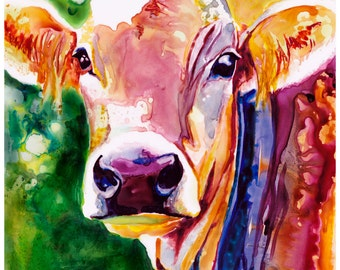 "8x10"" Cow Art Abstract Watercolor Fine Art Print Watercolor Cow Print Cow Painting Cow Art Abstract Watercolor Cow Art Watercolor"