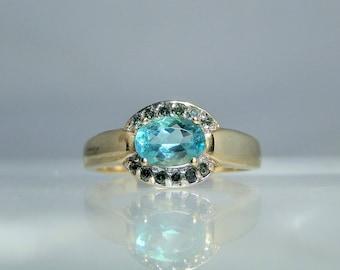 Vintage Blue Apatite Green Diamond 14k Yellow Gold Ring Size 7.25 Paraiba Tourmaline Blue Color Hue DanPickedMinerals