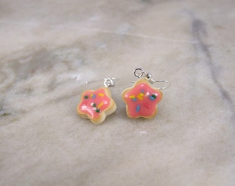 Miniature Scented Tiny Flower shaped Sugar Cookie Polymer Clay Earrings