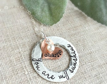 You Are My Sunshine . Mother Necklace . Mothers Day . Personalized Necklaces . Love Necklace . Valentines Day .  Mother Necklace