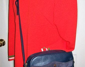 Vintage Ladies Navy Blue Leather Shoulder Bag by Etienne Aigner Only 14 USD