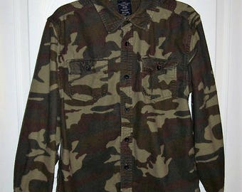 Vintage Youth Camouflage Flannel Shirt by Faded Glory XL (14-16) Only 6 USD