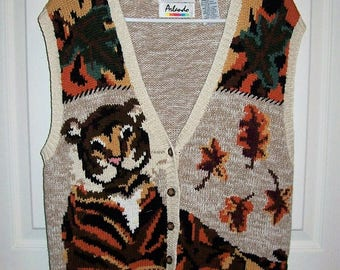 Vintage Ladies Multi Color Hand Knit Tiger Sweater Vest by Arlando Large Only 9 USD
