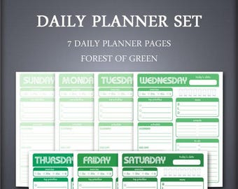 Printable Daily Planner Set - Weekly Planner Set - Forest of Green - Printable Planner Set