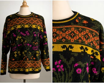 Cute Funky 80's Sweater. Size Large. Black, Magenta, Orange, Yellow. Vintage Pullover.