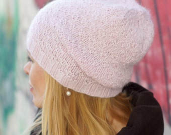 Hand knitted winter beany - pink rose women hat urban wool hat READY TO SHIP