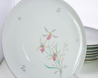 Eschenbach Dinner Plates, Pink Floral, W1466, Set of 8 Dinner Plates
