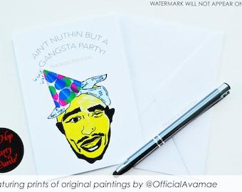 Hip Hop Greeting Cards, Hip Hop Birthday Card, Tupac Birthday Card, Tupac party, 90's hip hop party, 90's invitations, Tupac Stationary