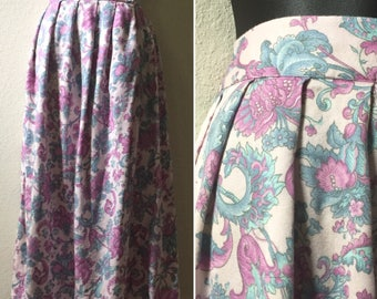 "1980s floral skirt, purple flower skirt, high waist rayon skirt, pleated skirt, medium vintage skirt, 28"" waist, worthington, grunge skirt,"