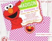 Girls ELMO Invitation with FREE matching Address Labels | Envelope Templates | Fill in Thank you note Digital files only