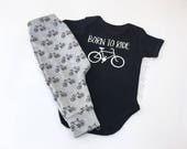 Baby Harem Pants and Bodysuit with bicycle print, Boys baggy pants and black bodysuit, Born to ride my bicycle Newborn Baby Outfit