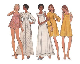 Sweet Baby Doll Pajamas or Nightgown in 2 Lengths and Long or Short Empire Waist Robe Bust 31.5 Butterick Sewing Pattern 3160 Dolman Sleeve