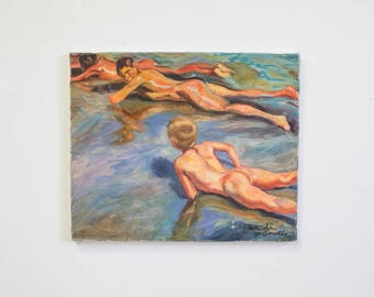 Vintage Nude Painting, Men or Boys at the Beach, Impressionist Style