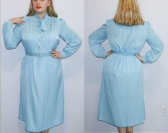 Vintage Dress 70s 80s Secretary Shirtwaist Blue Long Sleeve Button Front XL Plus Size