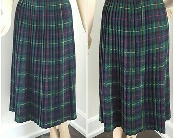 Vintage Blue and Green Plaid Wool Pleated Skirt Sportswear by Colette
