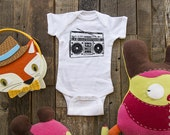 Boombox - cool vintage retro music radio graphic baby one piece or shirt