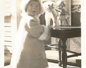 """Vintage Snapshot """"Too Adorable For Words"""" Little Girl Toy Dog & Doll Winter Coat Hat Front Porch Antique Found Vernacular Photograph"""