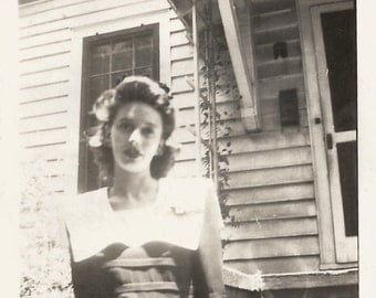 "Vintage Snapshot ""Haunted Beauty"" Pretty Girl Low Angle WWII Found Photograph"