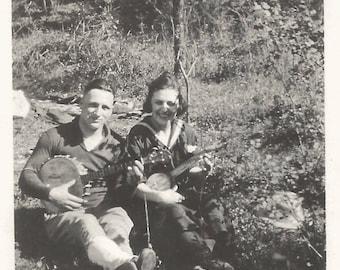 "Vintage Snapshot ""String Band"" Banjo Ukulele Mandolin Banjo Handsome Man Pretty Girl Found Vernacular Photo"
