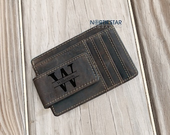 Mens Leather Wallet, Personalized Wallet, Money Clip wallet, Custom Money Clip, Engraved Money Clip, Mens Personalized, Leather Money Clip