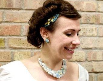 Aqua Wedding Comb Turquoise Bridal Hair Comb Pearl Comb Leaf Hair Slide Modern Romantic Elegant Chic Headpiece