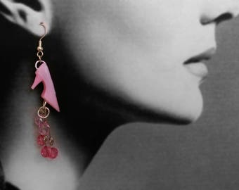 Girlie pink shoe earrings for your friend the shoe fiend or cancer survivor
