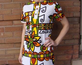 NAPILI HAWAIIAN SHIFT vintage 60's 70's mini dress S