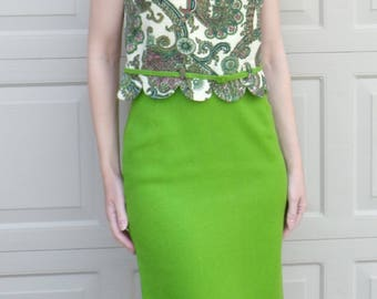 VINTAGE 1960's GREEN pencil skirt and top set wiggle dress S xs