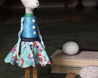 Vivian - Handmade Papier Mache Found Object Bunny Rabbit Doll by Paula Joerling
