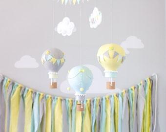 Gender neutral baby mobile, hot air balloon, travel theme, nursery décor. Aqua, Yellow, Grey hot air balloons, i207