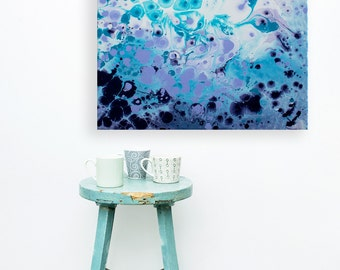 Frosted Petals - Navy Blue, Purple, & Turquoise Abstract Expressionist Fluid Painting on Canvas - Original Abstract Painting by Louise Mead