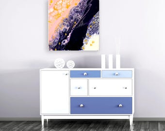 """Candy Floss Cliffs - Navy Blue, Pink, Gold, & White Square Abstract Expressionist Fluid Painting On Canvas - 20 X 20"""" Square Wall Art"""