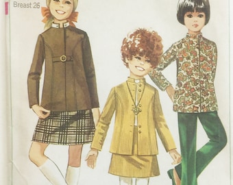 Simplicity vintage pattern 7923, out of print sewing pattern, girls size 7 skirt, flare pants and Nehru jacket with detachable collar