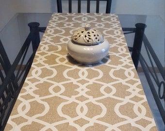 Tan Print Table Runner, Neutral Table Runner, Cream Color Table Runner