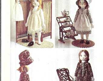 Vintage Holly Hobbie Rag Doll Sewing Pattern, Doll and Clothes Pattern, Stuffed Doll Pattern, 1970s Stuffed Toy Pattern, Simplicity 6006
