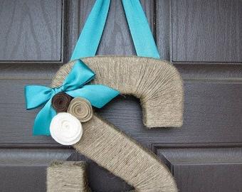 Summer Monogram Wreath. Farmhouse Style Jute Letter.