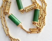 "Sarah Coventry Long Jade and Gold Necklace 33"" long"