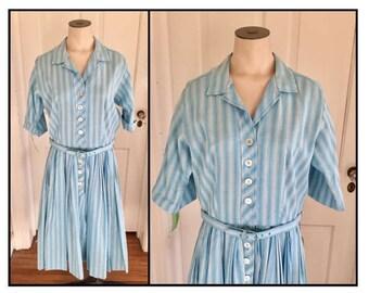 Vintage 1950s 60s Misses' Abby Kent Blue White Stripe Shirt Dress New Old Stock 6 8 10