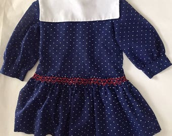Vintage 1960s 70s Girls' Polly Flinders Smocked Dress Size 5