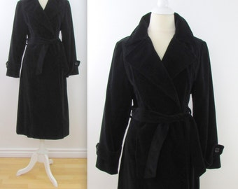 Niccolini Black Velvet Belted Wrap Coat - Vintage 1970s Womens Trench in Medium Large