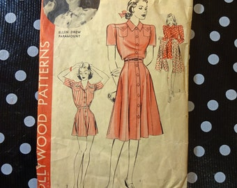 1940s Style2pc  Playsuit Romper with button up aline skirt from Vintage Pattern Custom Made in Your Size