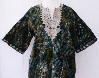 70's Batik Dashiki Embroidered Traditional African Watercolor Print Hippie Shirt Top L