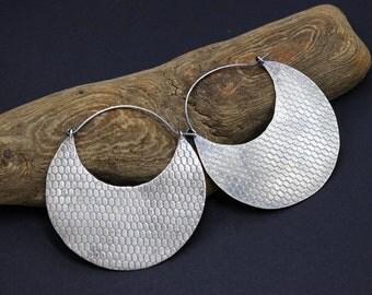 Large Disc Earrings Big Disc Earrings 2 inch Disc Earrings Sterling Silver African Earrings Tribal Earrings Ethnic Earrings Boho Earrings
