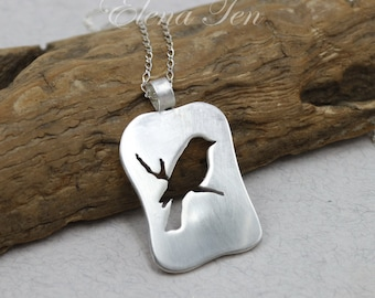 Sterling Silver Bird Necklace Birdie Necklace Bird Jewelry Bird on Branch Bird Pendant Silver Necklace Handcut Sparrow Necklace