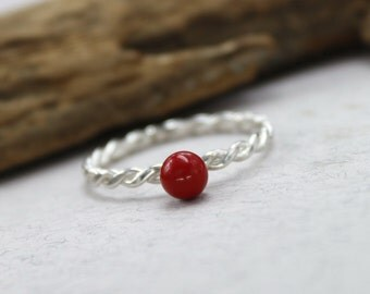 Silver coral ring red coral ring sterling silver tiny red stone ring girl friend gift thin silver rings for women natural stone ring